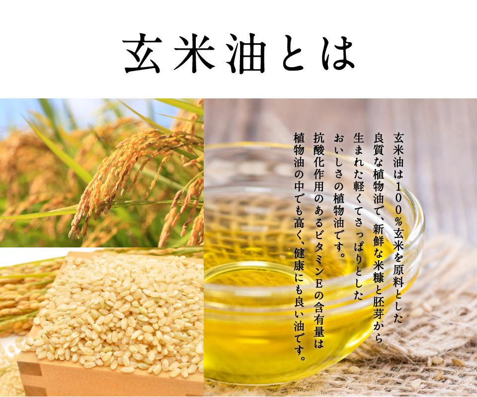 玄米油とは。玄米油は100%玄米を原料とした良質な植物油で、新鮮な米糠と胚芽から生まれた軽くてさっぱりとした美味しさの植物油です。 抗酸化作用のあるビタミンEの含有量は、植物油の中でも高く、健康に良い油です。