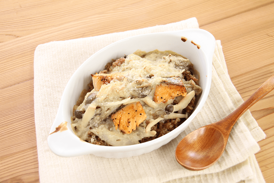 鮭ときのこの寝かせ玄米ドリアのレシピ