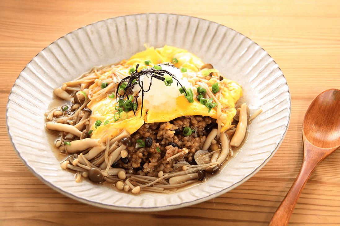和風きのこあんかけオムライスのレシピ