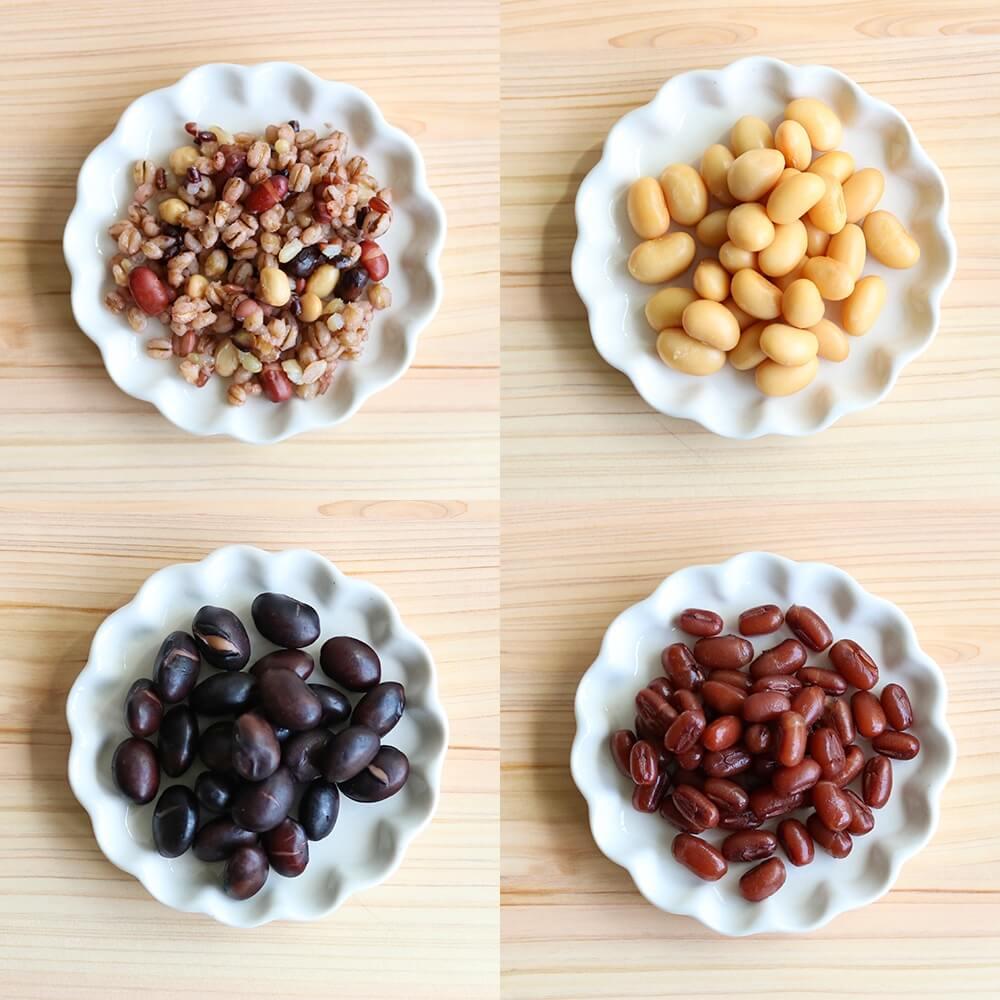 左上「そのまままぜる雑穀」、右上「蒸し大豆」、左下「発芽黒豆」、右下「ほの甘あずき」すべて茹でずにそのまま食べられます。