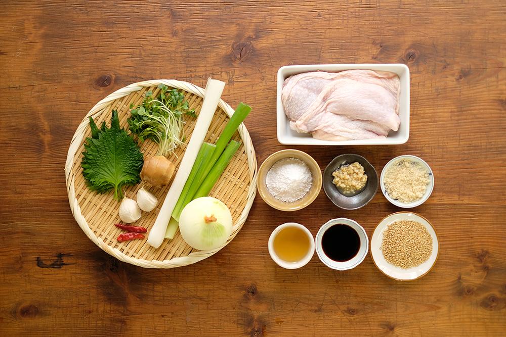 鶏の香味ソースがけ材料