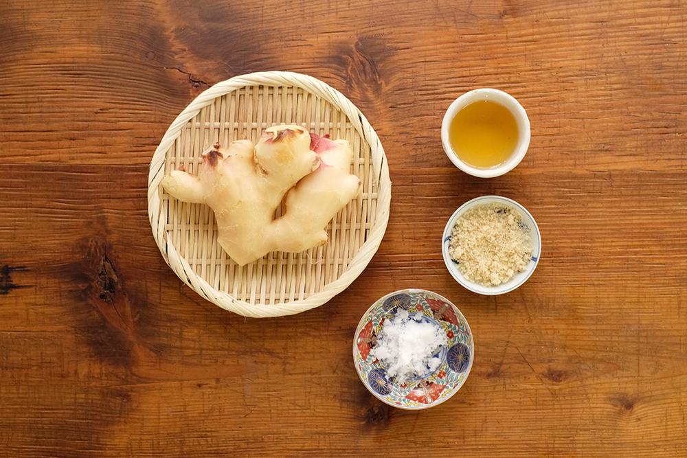 新生姜の酢漬けの材料
