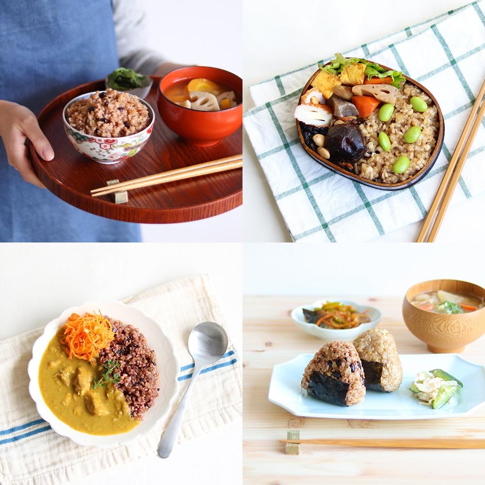 寝かせ玄米は、おむすびやお弁当、カレーにもおすすめ。